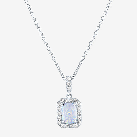 Limited Time Special!! Womens Lab Created White Opal Sterling Silver Pendant Necklace