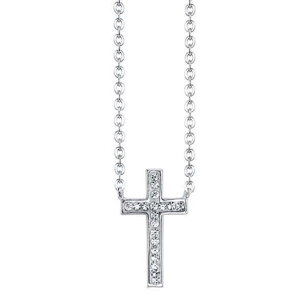 Crystal Sophistication™ Silver-Plated Crystal-Accent Cross Pendant Necklace
