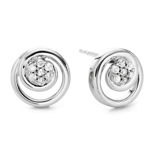 diamond blossom 1/10 CT. T.W. Diamond Swirl Earrings