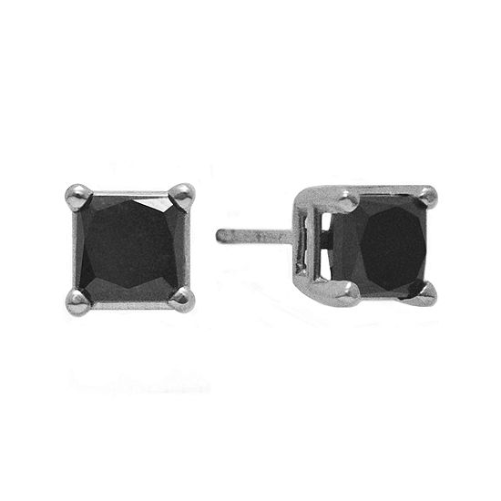 1 2 Ct T W Color Enhanced Black Diamond Princess Cut Stud Earrings