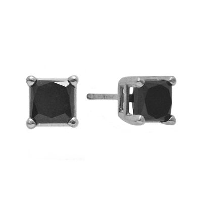 1 CT. T.W. Color-Enhanced Black Diamond Princess-Cut Stud Earrings