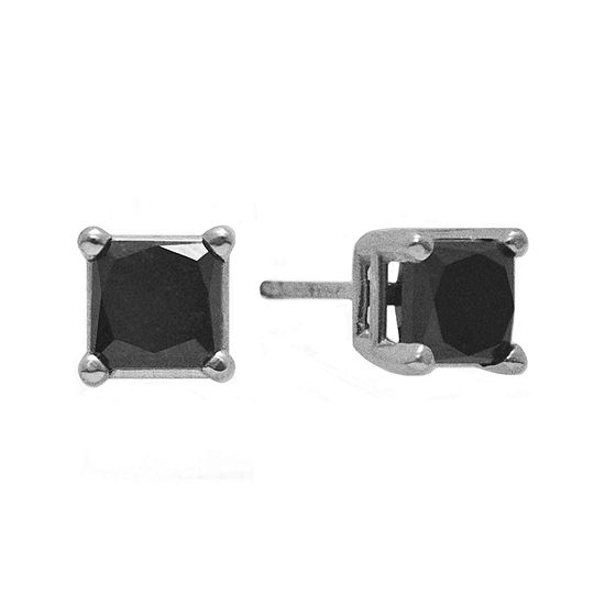 T W Color Enhanced Black Diamond Princess Cut Stud Earrings