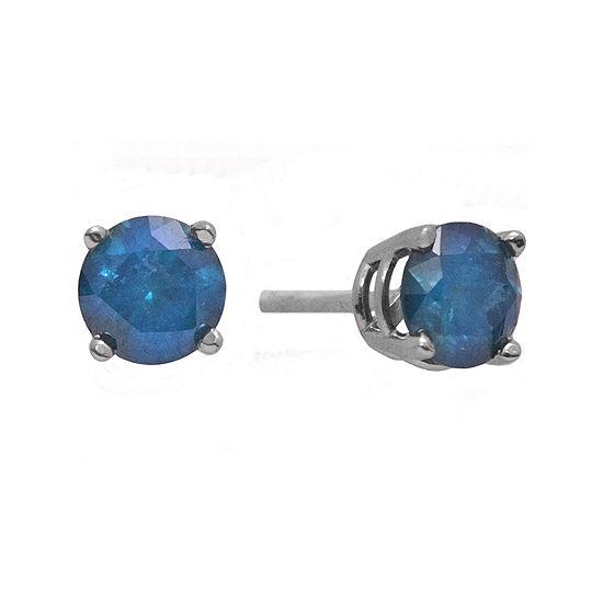 1½ CT. T.W. Color-Enhanced Blue Diamond Stud Earrings