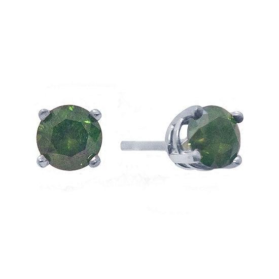 1/2 CT. T.W. Color-Enhanced Green Diamond Stud Earrings