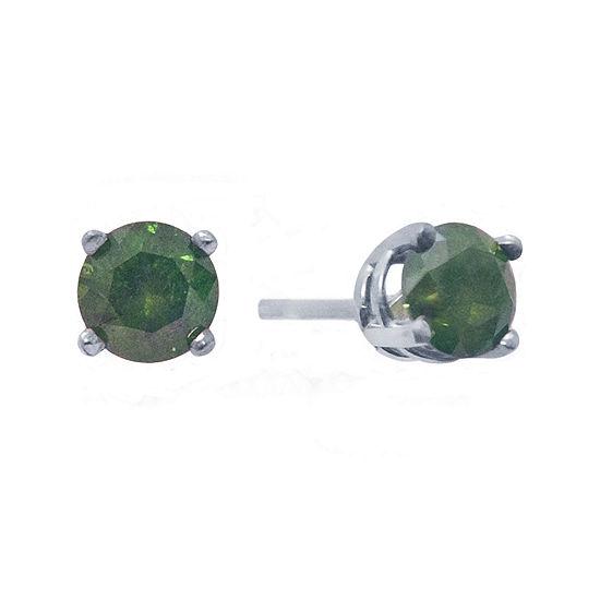 1½ CT. T.W. Color-Enhanced Green Diamond Stud Earrings