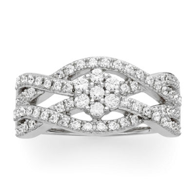 diamond blossom 1/2 CT. T.W. Diamond Crossover Ring