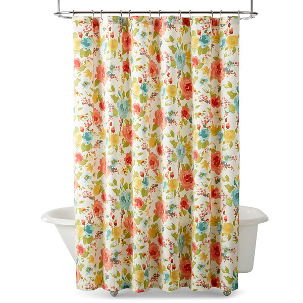 yellow and teal shower curtain. JCPenney Home  Posh Shower Curtain