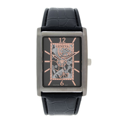 Geneva Mens Rectangular Black Leather Strap Skeleton-Look Watch