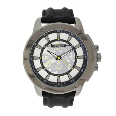 Geneva Mens Black Silicone Strap Skeleton-Look Watch
