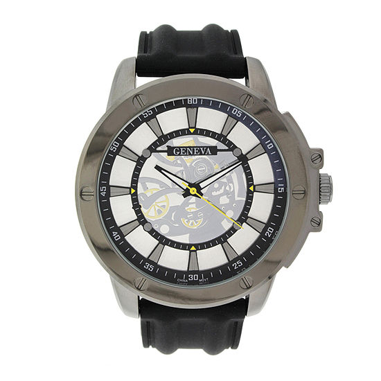 Geneva Mens Black Silicone Strap Skeleton Look Watch