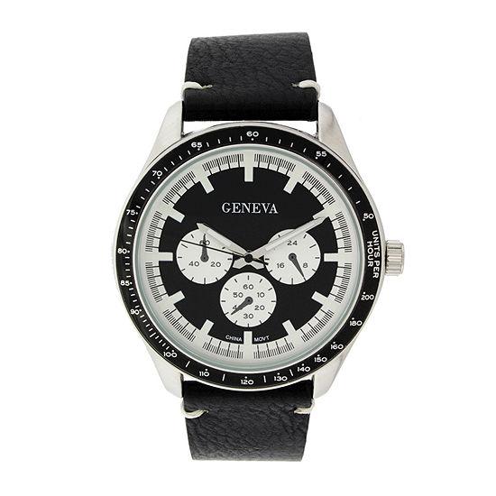 Geneva Mens Black Leather Strap Watch