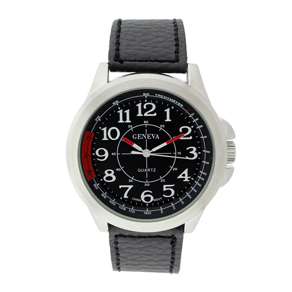 Geneva Mens Black Dial Black Leather Strap Watch
