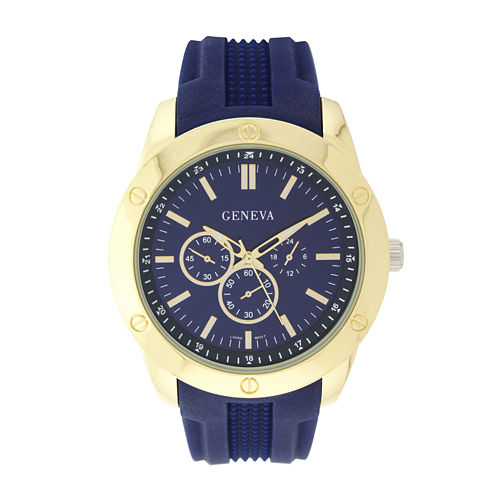 Geneva Mens Blue Silicone Strap Watch