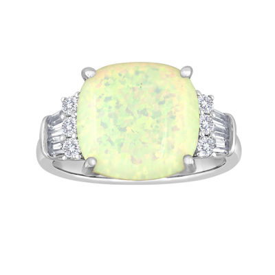 Cushion-Cut Lab-Created Opal and White Sapphire Ring