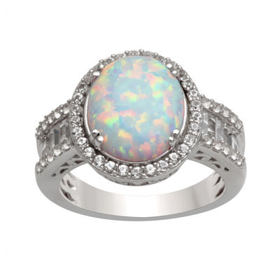 Oval Lab-Created Opal and White Sapphire Ring