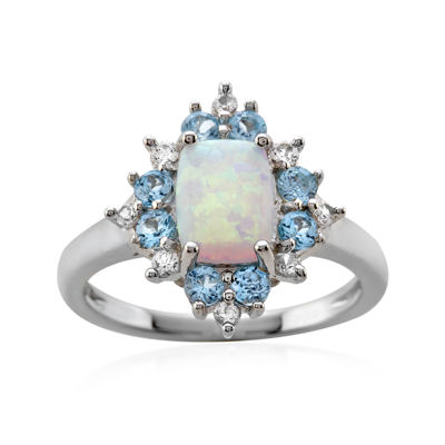 Genuine Blue Topaz, Lab-Created Opal and White Sapphire Ring
