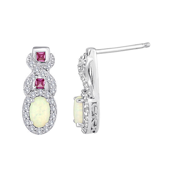 Lab-Created Opal, Pink and White Sapphire Twist Earrings