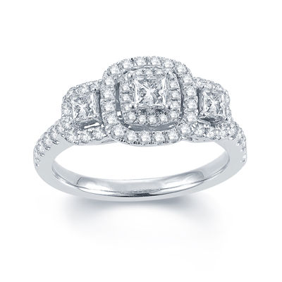 Modern Bride® Signature 1 CT. T.W. Diamond 14K White Gold 3-Stone Princess-Cut Ring
