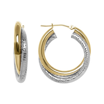 Infinite Gold™ 14K Two-Tone Gold Crisscross 3mm Hoop Earrings