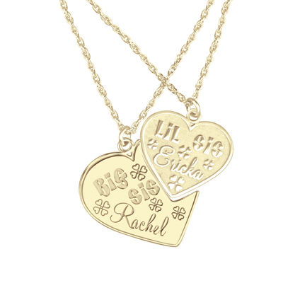 Personalized Big & Lil Sis 2-pc. Heart Pendant Necklace Set