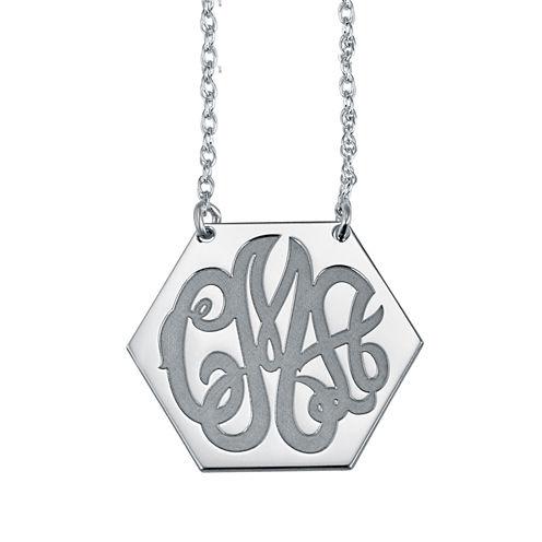 Personalized Hexagon Monogram Necklace
