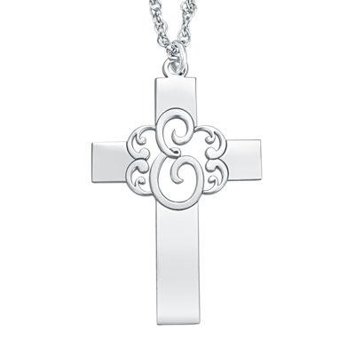 Personalized Monogram Cross Pendant Necklace