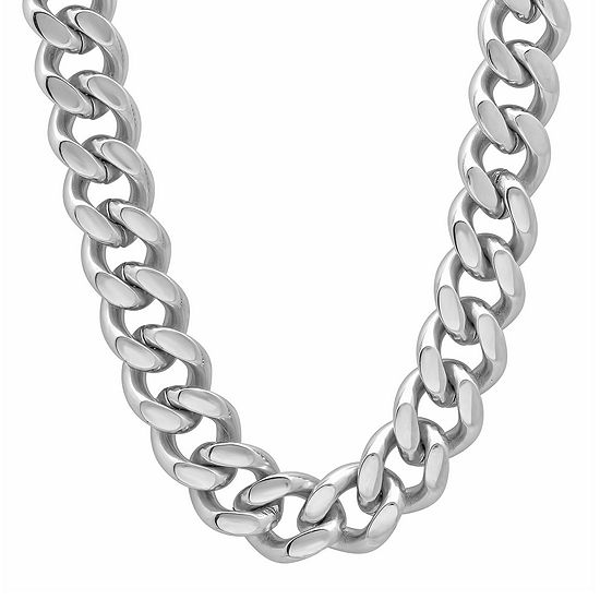 """Mens Stainless Steel 24"""" 9mm Flat Curb Chain Necklace"""
