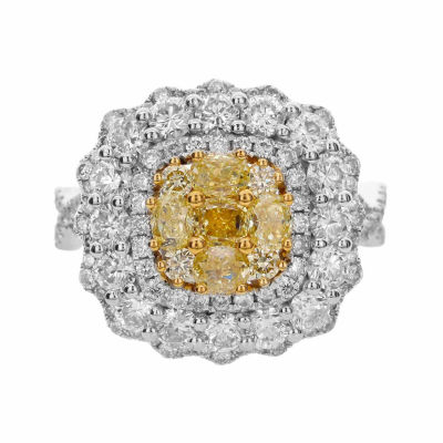 LIMITED QUANTITIES! Womens 3 CT. T.W. Round Yellow Diamond 18K Gold Engagement Ring