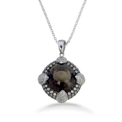 Womens Smoky Quartz Sterling Silver Pendant Necklace