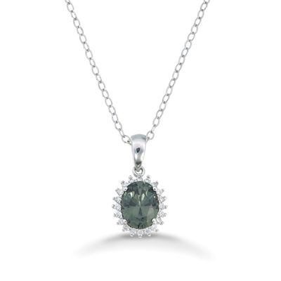 Womens Simulated Spinal Green Sterling Silver Pendant Necklace