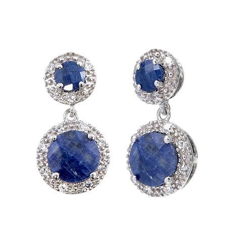 Blue Sapphire Sterling Silver Drop Earrings