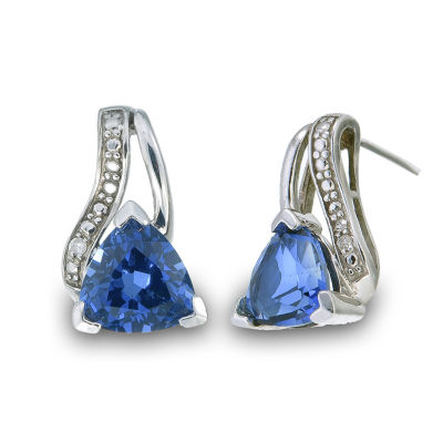 Diamond Accent Blue Sapphire Sterling Silver Drop Earrings