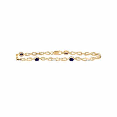 Diamond Accent Genuine Blue Sapphire 10K Gold 7.5 Inch Tennis Bracelet