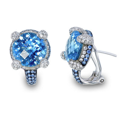 Blue Blue Topaz Sterling Silver 13mm Stud Earrings