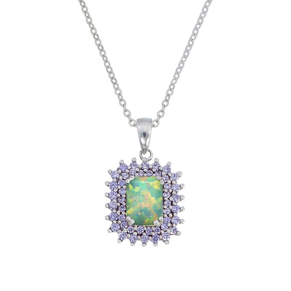Womens Simulated White Opal Sterling Silver Pendant Necklace