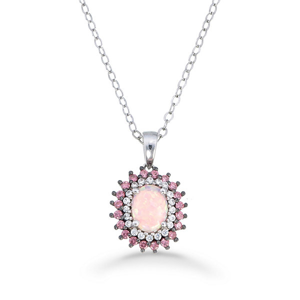 Womens Simulated Pink Opal Sterling Silver Pendant Necklace