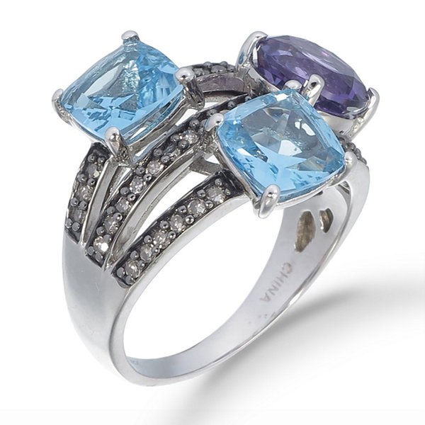 Womens Blue Blue Topaz Sterling Silver Crossover Ring