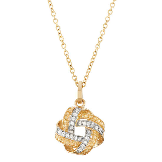 Womens 1/8 CT. T.W. Genuine White Diamond 10K Gold Pendant Necklace
