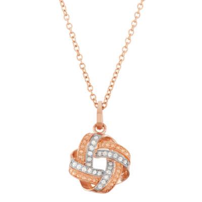 Womens 1/8 CT. T.W. Genuine White Diamond 10K Gold Pendant Necklace