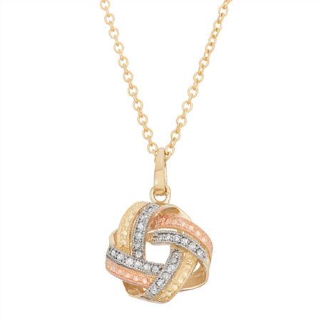 Womens 1/8 CT. T.W. Genuine White Diamond 10K Gold Pendant Necklace, One Size