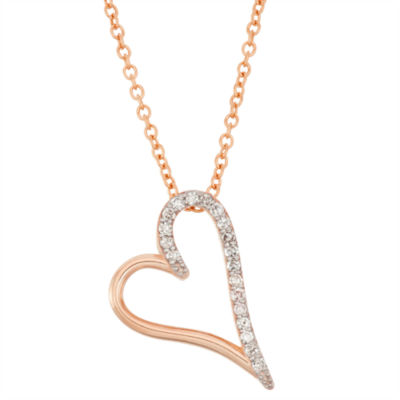 Womens 1/7 CT. T.W. Genuine White Diamond 10K Gold Heart Pendant Necklace