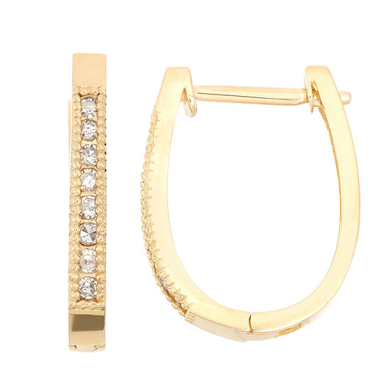 1/4 CT. T.W. Genuine White Diamond 10K Gold 7mm Hoop Earrings