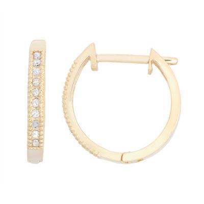 1/10 CT. T.W. White Diamond 10K Gold Hoop Earrings