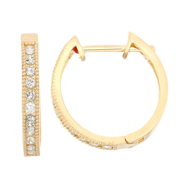 3/8 CT. T.W. White Diamond 10K Gold Hoop Earrings