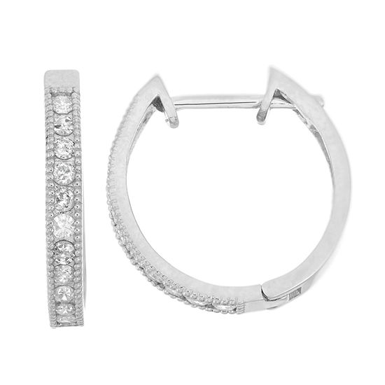 3/8 CT. T.W. Genuine White Diamond 10K Gold 16.4mm Hoop Earrings