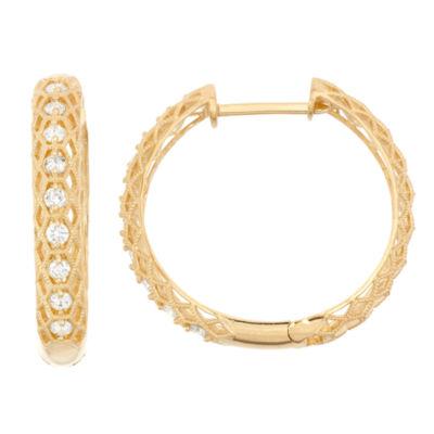 3/4 CT. T.W. GENUINE White Diamond 10K GOLD 22.5mm Hoop Earrings