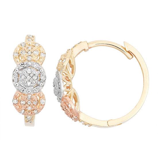 1/3 CT. T.W. Genuine White Diamond 10K Gold 17.9mm Hoop Earrings