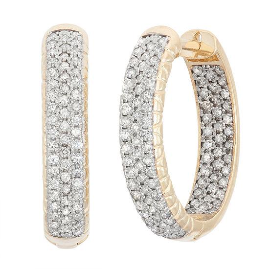 7/8 CT. T.W. Genuine White Diamond 10K Gold 19.9mm Hoop Earrings