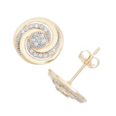 1/5 CT. T.W. Genuine White Diamond 10K Gold 10.9mm Stud Earrings