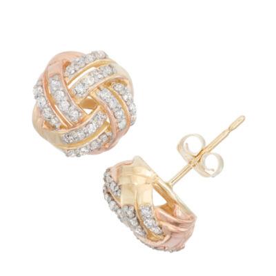 1/3 CT. T.W. Genuine White Diamond 10K Gold 8.4mm Stud Earrings